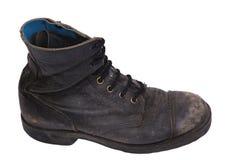 Изолированный используемый ботинок армии - взгляд со стороны высокого угла Стоковое Фото