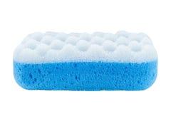 Взгляд со стороны голубой губки ванны Стоковые Фотографии RF