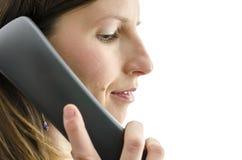 Взгляд со стороны женского работника центра телефонного обслуживания Стоковое Изображение RF