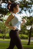 Взгляд со стороны здоровой женщины jogging в парке Стоковое Фото