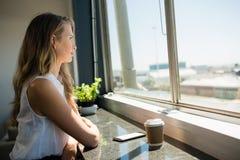 Взгляд со стороны коммерсантки смотря через окно Стоковые Изображения