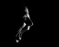 Взгляд со стороны кричащего сердитого агрессивного воинствующего парня, черно-белого портрета изолированного на черноте Стоковая Фотография RF