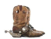 Взгляд со стороны пары ботинок ковбоя с шпорами стоковые изображения rf