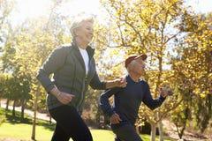 Взгляд со стороны старшей силы пар идя через парк стоковое изображение