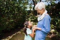 Взгляд со стороны усмехаясь положения бабушки и внучки пока держащ руки Стоковая Фотография