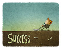 Взгляд со стороны человека в костюме при искатель металла ища успех бесплатная иллюстрация
