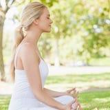Взгляд со стороны ponytailed спокойной женщины размышляя сидеть в парке Стоковое Изображение
