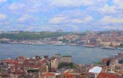Взгляд Стамбула от башни Galata Стоковое Изображение RF
