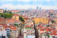 Взгляд Стамбула от моста Galata Стоковое Изображение