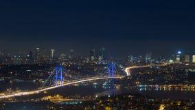 Взгляд Стамбула панорамный на ноче Стоковые Изображения RF
