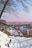 Взгляд старого городка в зиме Стоковые Изображения RF