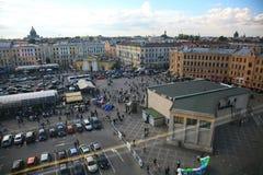 Взгляд старого европейского города от высоты полета птицы Санкт-Петербург, Россия, Северн Северный Стоковое Фото