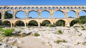 взгляд старого римского мост-водовода Pont du Гара Стоковое Фото
