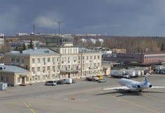 Взгляд старого строя Sheremetyevo, пасмурный день moscow Стоковое фото RF