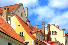 Взгляд старых зданий в Риге, Латвии Стоковые Изображения RF