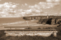 Взгляд стенда пляжа и замка Ballybunion Стоковые Фотографии RF