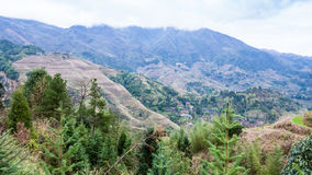 взгляд страны Dazhai горы весной Стоковые Фотографии RF