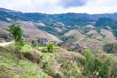 взгляд страны Dazhai с деревней Стоковая Фотография RF