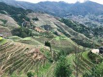 взгляд страны Dazhai с деревнями и падиами Стоковое фото RF