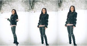 Взгляд счастливой девушки брюнет играя с снегом в ландшафте зимы Красивая молодая женщина на предпосылке зимы Привлекательная жен Стоковые Фотографии RF