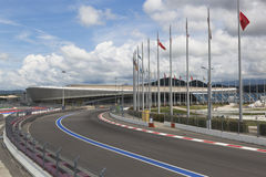 Взгляд следа формулы 1 и Adler-арена в олимпийском Сочи спаривают Стоковое Фото