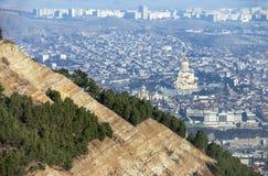 Взгляд Тбилиси от гор Стоковое Изображение RF