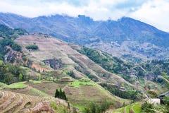 взгляд террасного наклона в страну Dazhai Стоковое Фото