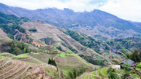 взгляд террасных земель в стране Dazhai Стоковые Фото