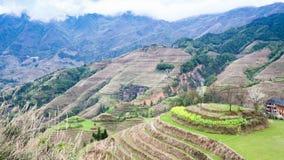 взгляд террасных полей в стране Dazhai Стоковые Фотографии RF