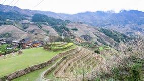 взгляд террасных полей и деревни Tiantouzhai Стоковые Изображения