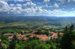 Взгляд Тосканы от деревни Volterra, Тосканы, Италии Стоковая Фотография