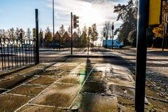 Взгляд утра замороженного пересечения дорог Великобритании Стоковое Изображение RF