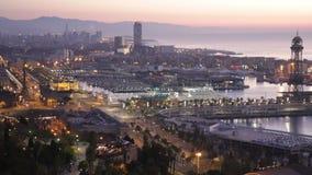Взгляд утра панорамный Барселоны акции видеоматериалы