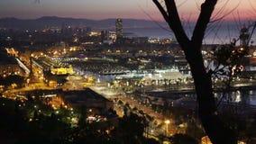 Взгляд утра панорамный порта Барселоны от высокой точки сток-видео