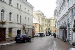 Взгляд утреннего времени зимы города Вильнюса белый Стоковое Фото