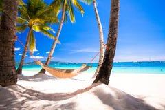 Взгляд уютного гамака соломы на тропической белизне Стоковая Фотография