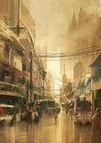 Взгляд улицы города в винтажном ретро стиле Стоковые Изображения