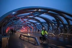 Взгляд улицы ночи загоренного моста в Женеве стоковые фотографии rf
