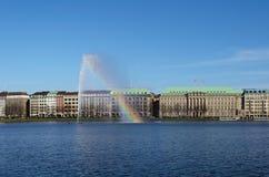 Взгляд фонтана Alster Стоковая Фотография RF