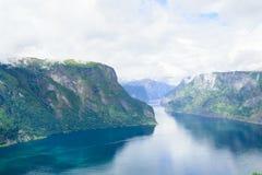 Взгляд фьорда замотки крутого скалистого норвежского Стоковое Изображение RF