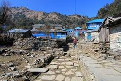 Взгляд холма Poon в Непале Стоковое Изображение RF