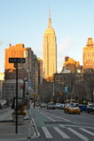 Взгляд центра города Нью-Йорка Манхаттана с небоскребами, NYC Стоковые Изображения