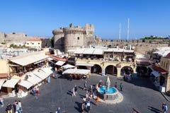Взгляд центра города Родоса старого стоковое фото rf