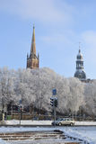 Взгляд центра Риги на зиме стоковые изображения rf