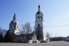 Взгляд центральной площади захолустного городка Zaraysk, область Москвы Стоковое Фото
