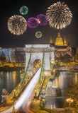 Взгляд цепного моста, Будапешта Стоковое Фото