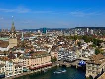 Взгляд Цюриха от башни собора Grossmunster Стоковое Изображение