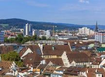 Взгляд Цюриха от башни собора Grossmunster Стоковые Изображения RF
