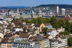 Взгляд Цюриха от башни собора Grossmunster Стоковые Фотографии RF