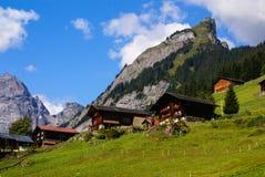 Взгляд швейцарских горных вершин: Красивая деревня Gimmelwald, центральный Sw Стоковые Фото